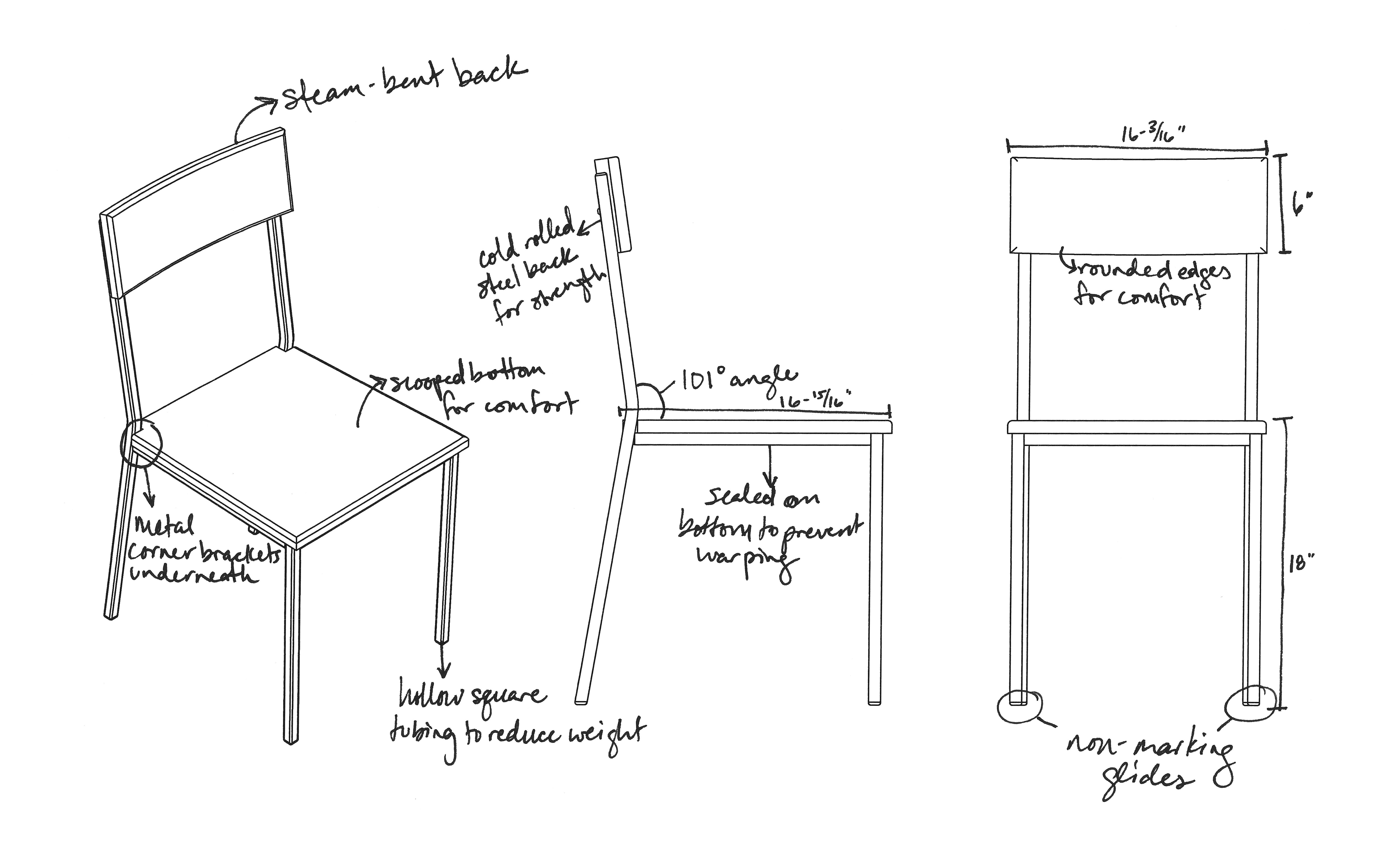 Transit Chair Design Sketch